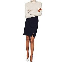 Mango - Navy buttoned 'Boreal' knee length skirt