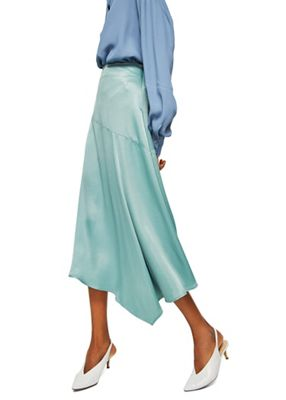 Mango   Green Satin 'newport' Midi A Line Skirt by Mango