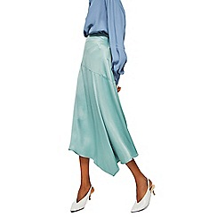 Mango - Green satin 'Newport' midi A-line skirt
