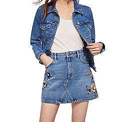 Mango - Blue floral embroidered 'Poppy' denim mini skirt