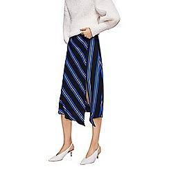 Mango - Black striped 'Raya' midi asymmetric skirt