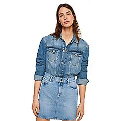Mango - Blue denim 'Rainstud' mini skirt
