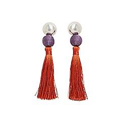 Mango - Orange 'Simba' tassel earrings