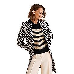 Mango - Black and white 'Rayitas' zebra print coat