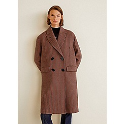Mango - Brown check print 'Carlitos' double breasted coat