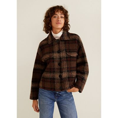 Mango   Brown Check Print Wool Blend 'wales' Jacket by Mango