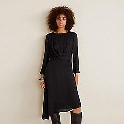 Mango - Black leopard print satin 'Bilboa' long sleeve knee length dress