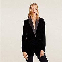 Mango - Black velvet 'Combi' suit blazer