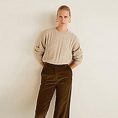 Mango - Beige cable knit 'Ocho' sweater