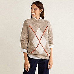 Mango - Cream cable knit 'Steeve' rhombus design sweater