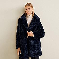Mango - Blue faux fur 'Newagua' coat