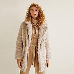 Mango - Beige faux fur  Newagua  coat bff13e1c52d0