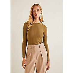 Mango - Brown cashmere blend 'Genova' fine knit sweater