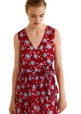 8ec224cf8e15 Mango Red floral print  Mocca  v-neck top   Debenhams