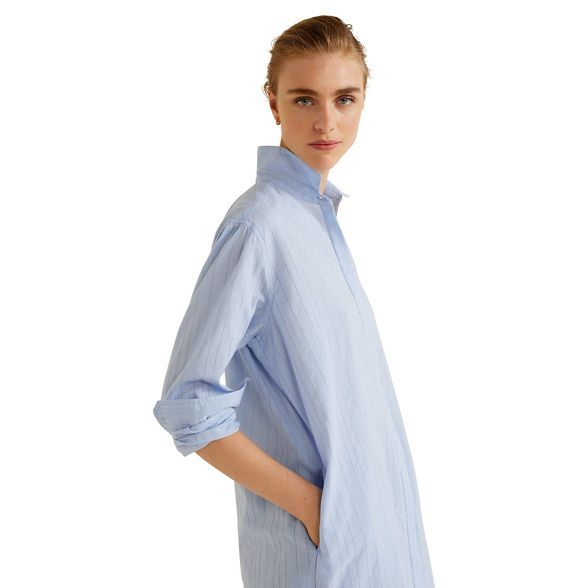 Mango pure Blue shirt cotton pintuck r0rFpgwq