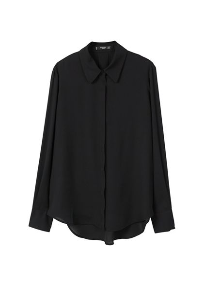 Mango long 'Basic' flowy sleeve Black shirt PqawPS