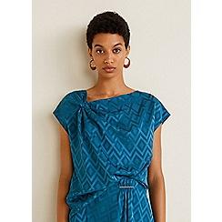 Mango - Blue geometric design 'Jacky' asymmetric neck top