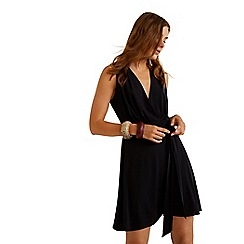 Mango - Black 'Crossed' v-neck mini bow wrap dress