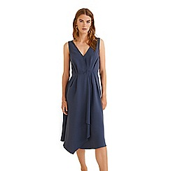 Mango - Blue 'Capri' v-neck midi pleated dress