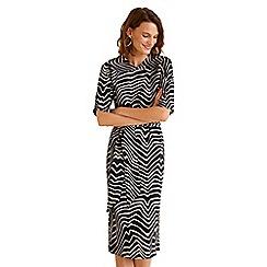 Mango - Black and white printed 'Leonor' v-neck knee length bow dress