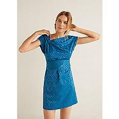 Mango - Blue geometric design 'Jacky' asymmetric neck mini dress