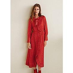 Mango - Red snakeskin print 'Plis' long sleeve midi dress