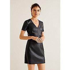 Mango - Black seam 'Worker' v-neck mini bodycon dress