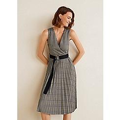 Mango - Grey check print 'Story' v-neck knee length dress