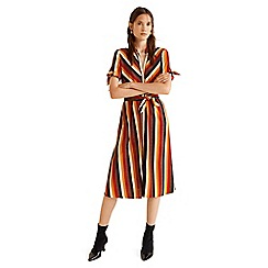 Mango - Multi-coloured stripe print 'Ptladyra' midi shirt dress