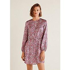 Mango - Purple floral print satin 'Fudi' long sleeve mini dress
