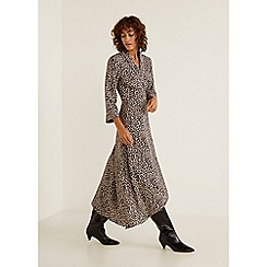 Mango - Black Leopard Print 'Fast' V-Neck High Low Wrap Dress