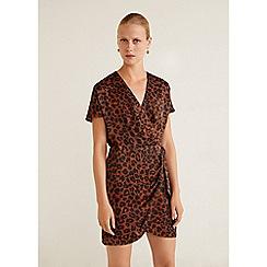 Mango - Brown Leopard Print 'Ptjapcur' V-neck Mini Wrap Dress