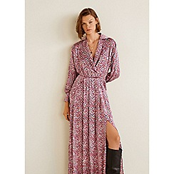 Mango - Pink Floral Print Satin 'Zoe' Long Sleeve Maxi Dress