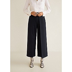 Mango - Navy Blue 'Braulio' Loose Fit Palazzo Trousers