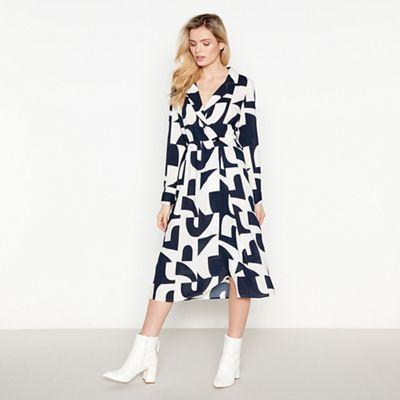 78a8237200 Vero Moda Black Geometric Print  Boldonia  Midi Wrap Dress