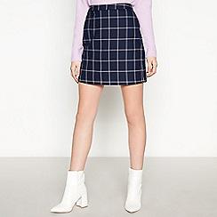 Vero Moda - Navy Check Pattern Mini Skirt