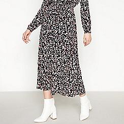 Vero Moda - Black Leopard Print Midi Skirt
