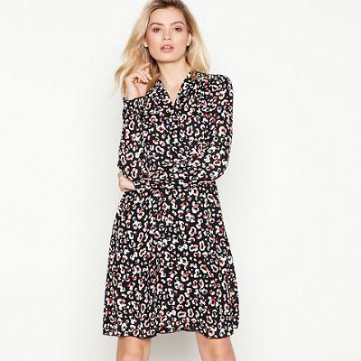 c646267488 Vero Moda Black Leopard Knee Length Wrap Dress
