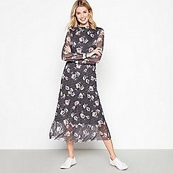 c44cb6fa81 Vero Moda - Black Floral Mesh  Amy  Midi Dress