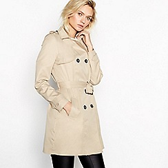 Vila - Camel Double Breasted Trench Coat