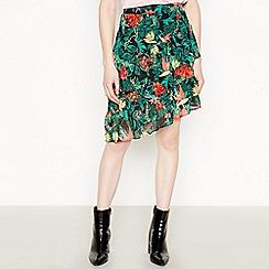 Vila - Black Floral Print 'Nemas' Asymmetric Skirt