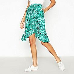 Vila - Green Leopard Print High Low Skirt