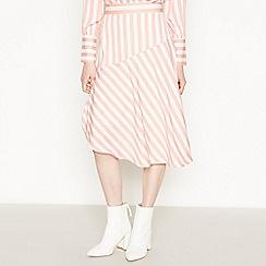 Vila - Mid Rose Striped Midi Skirt