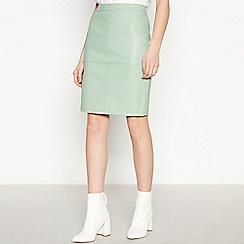 Vila - Light Blue Faux Leather Mini Skirt
