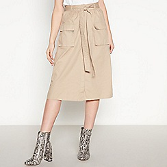 Vila - Light Brown 'Vinyala' Cotton Midi Skirt