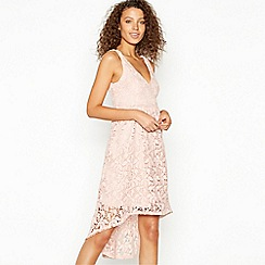 Vila - Light Pink Embroidered Lace 'Ellie' High Low Dress