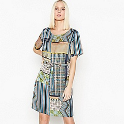Vila - Blue Boho Print Tie Waist Knee Length Dress
