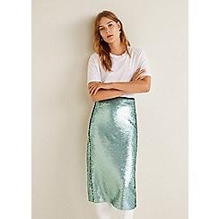 Mango - Blue sequin 'Lenteja' midi skirt