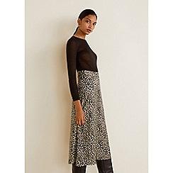 Mango - Black leopard print 'Fast' midi skirt