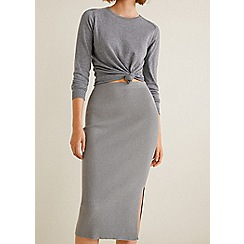 Mango - Grey ribbed 'Widie' midi skirt